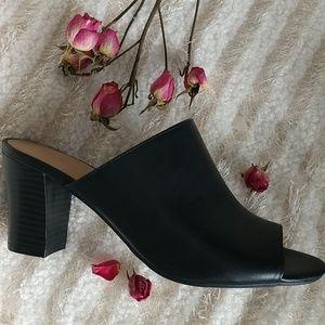Liz Claiborne Pearse Mule Peep Toe Heels Black 6.5